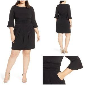 Eliza J Black Bell Sleeve Sheath Dress